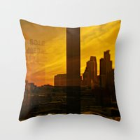 minneapolis Throw Pillows featuring golden minneapolis by sara montour