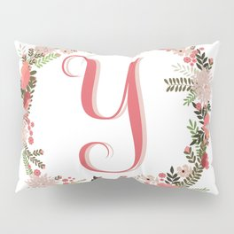 Personal monogram letter 'Y' flower wreath Pillow Sham