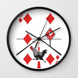 Clipped Wings Deck: The Six of Diamonds Wall Clock