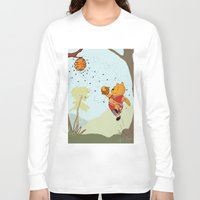 pooh Long Sleeve T-shirts featuring Pooh Rose by Jen Hynds