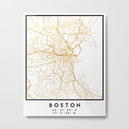 BOSTON MASSACHUSETTS CITY STREET MAP ART Metal Print