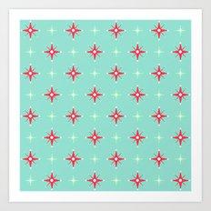 Retro Red & Green Stars Art Print