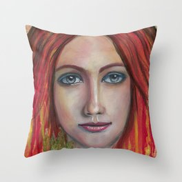 She speaks without voice Throw Pillow