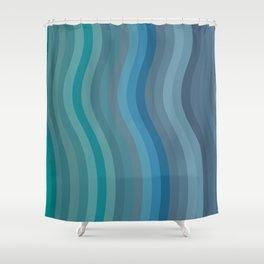 Zen Wavy Lines in Ocean Blue and Green Shower Curtain