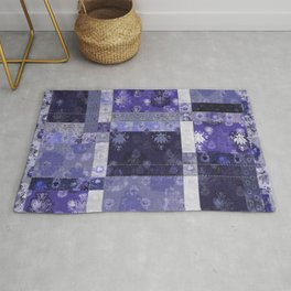 Lotus flower blue stitched patchwork - woodblock print style pattern Rug