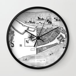 Historical Map of New York City (1664) BW Wall Clock