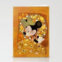 gustav klimt Stationery Cards featuring Minnie Mouse - Gustav Klimt Style by Zimeta
