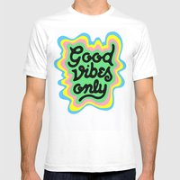 Good Vibes Only White MEDIUM Mens Fitted Tee