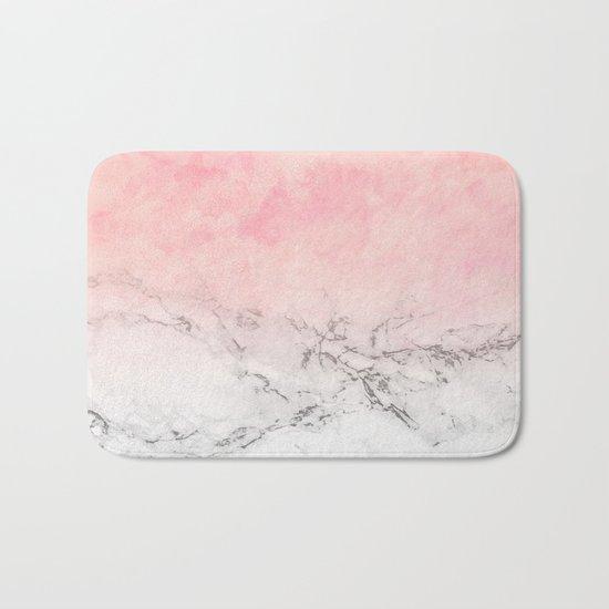 Modern blush pink watercolor ombre white marble Bath Mat