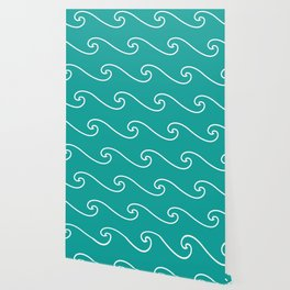Wave Pattern | Teal and White Wallpaper