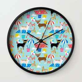 Miniature Doberman Pinscher dog beach day summer fun dog lover min pin Wall Clock