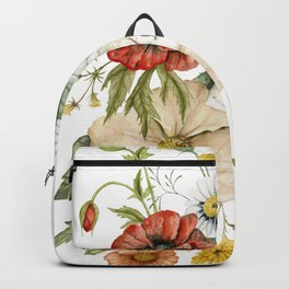 Wildflower Bouquet on White Backpack
