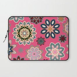Flower retro pattern in vector. Blue gray flowers on pink background. Laptop Sleeve
