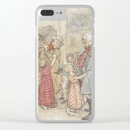 Arthur Rackham - Dickens' Christmas Carol (1915): Laden with Christmas Toys and Presents Clear iPhone Case