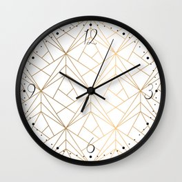 Geometric Gold Pattern With White Shimmer Wall Clock