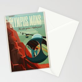 SpaceX Mars tourism poster / Olympus Mons Stationery Cards