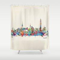 hong kong Shower Curtains featuring Hong Kong skyline by bri.buckley