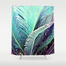 Palms (Teal and purple) Shower Curtain