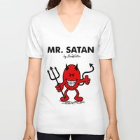 satan V-neck T-shirts featuring Mr Satan by NicoWriter