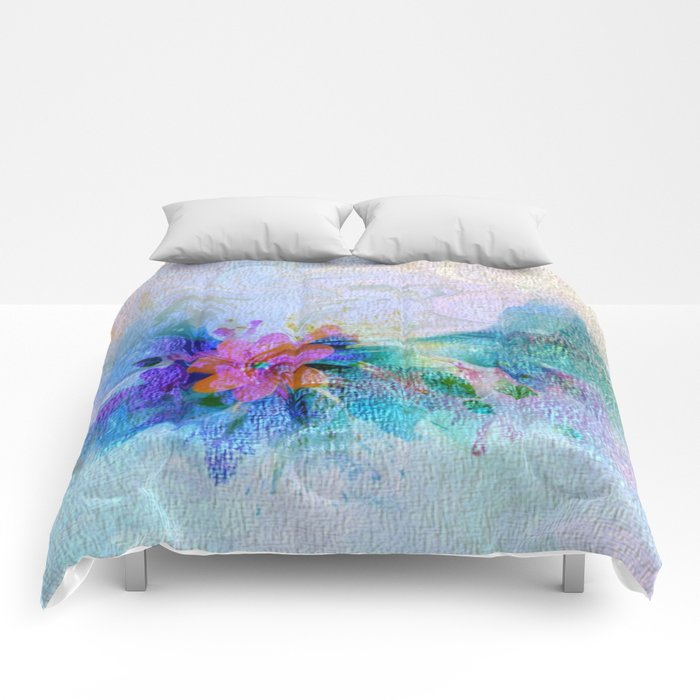 Soft Shaded Floral Abstract Comforters