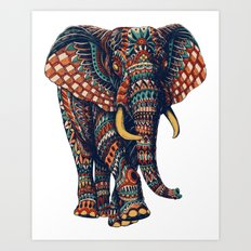 Ornate Elephant v2 (Color Version) Art Print
