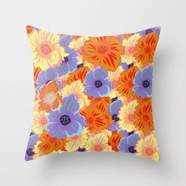 Flowers - Blue Bell (Blue), Raw Sienna (Orange), Manhattan (Orange), Sorbus (Orange) Throw Pillow