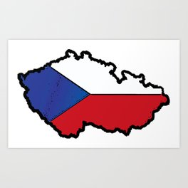 Czech Republic Map with Czech Flag Art Print