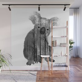 Misty Forest Koala Bear - black and white Wall Mural
