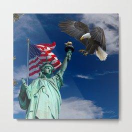 Bald Eagle a Lady Liberty Metal Print