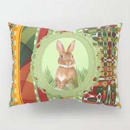 Bunny in green frame with geometric background stripes Pillow Sham