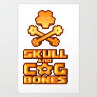 Skull and Cogbones - Orange Art Print