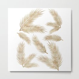 Rose Gold Glitter Marble Troipcal Leaves Metal Print