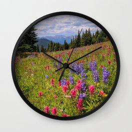 SHRINE RIDGE COLORADO SUMMER MOUNTAIN WILDFLOWERS LANDSCAPE PHOTOGRAPHY Wall Clock