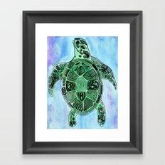 Tatoo Sea Turtle Framed Art Print