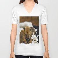 shiba inu V-neck T-shirts featuring Red Shiba Inu Puppy by Blue Lightning Creative