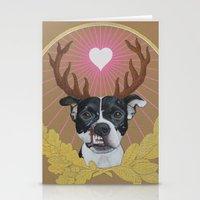 pitbull Stationery Cards featuring Jaggermeister - pitbull by PaperTigress