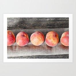 row ripe orange peaches Art Print