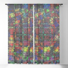 Urban Psychedelic Abstract Sheer Curtain