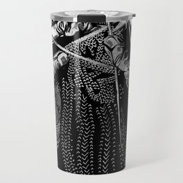 Geometric Black and White Drawing Kitting Hands Travel Mug