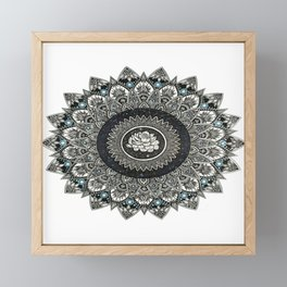 Black and White Flower Mandala with Blue Jewels Framed Mini Art Print