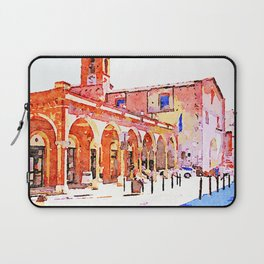 Teramo: foreshortening with arcade and church Laptop Sleeve