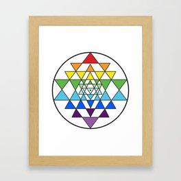 Sri Yantra Rainbow Framed Art Print