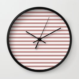 Vintage New England Shaker Barn Red Milk Paint Mattress Ticking Horizontal Wide Striped Wall Clock