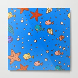 Cute Retro SeaLife Seamless Pattern Metal Print