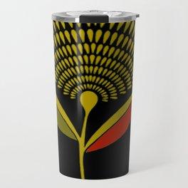 Mid Century Modern Dandelion Seed Head In Aspen Gold Travel Mug