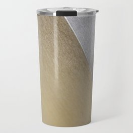 Minimalist Geometric Abstract Photography Silver Gold Industrial Cast Iron and Champaign Travel Mug