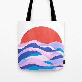 lucia, orange sunset ocean waves Tote Bag