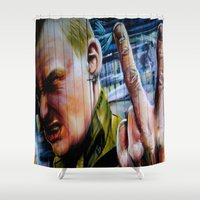 rebel Shower Curtains featuring Rebel by Global Graphiti