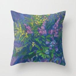 Twilight & Goldenrod, Still Life, Floral Pastel Throw Pillow