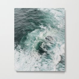 Blue ocean waves abstract background Metal Print